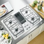 beautiful silver white modern design 30 gas cooktop with downdraft sleek silver kitchen surface white knobs wooden kitchen furniture