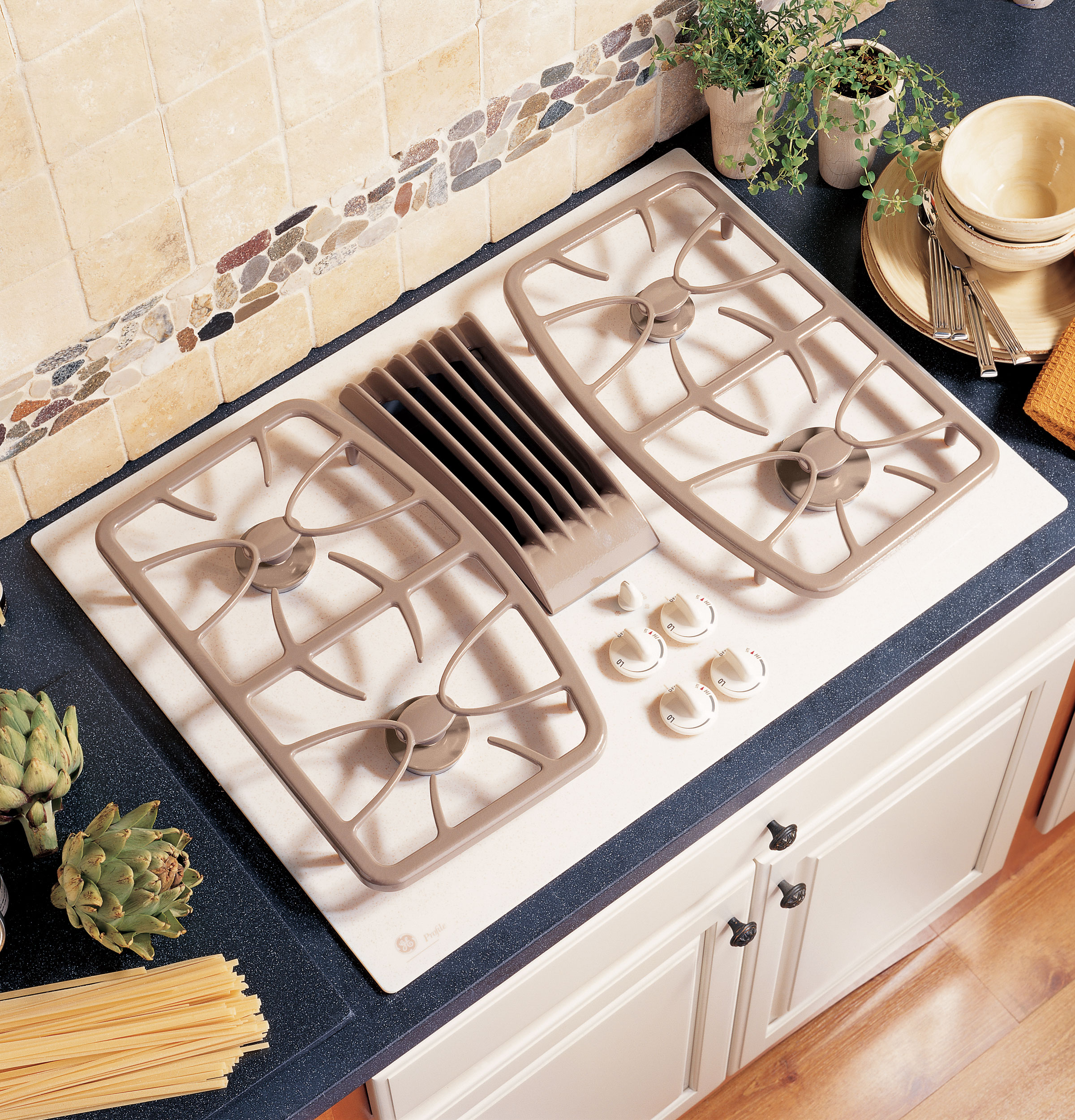 beautiful soft brown modern 30 gas cooktop downdraft wooden kitchen furniture white knobs natural porcelaine wall
