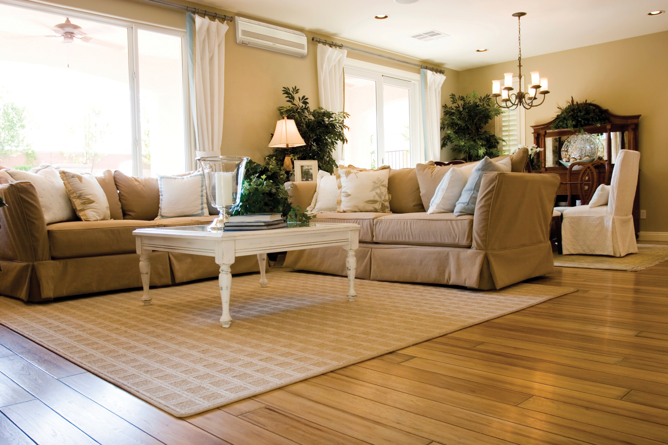 Beautiful Wooden Floors Living Room Mop For Wood Beige Tone Decorative Green Plants