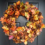 beautiful wreath design for thanksgiving decoration outdoor with fall leave domination with fruit