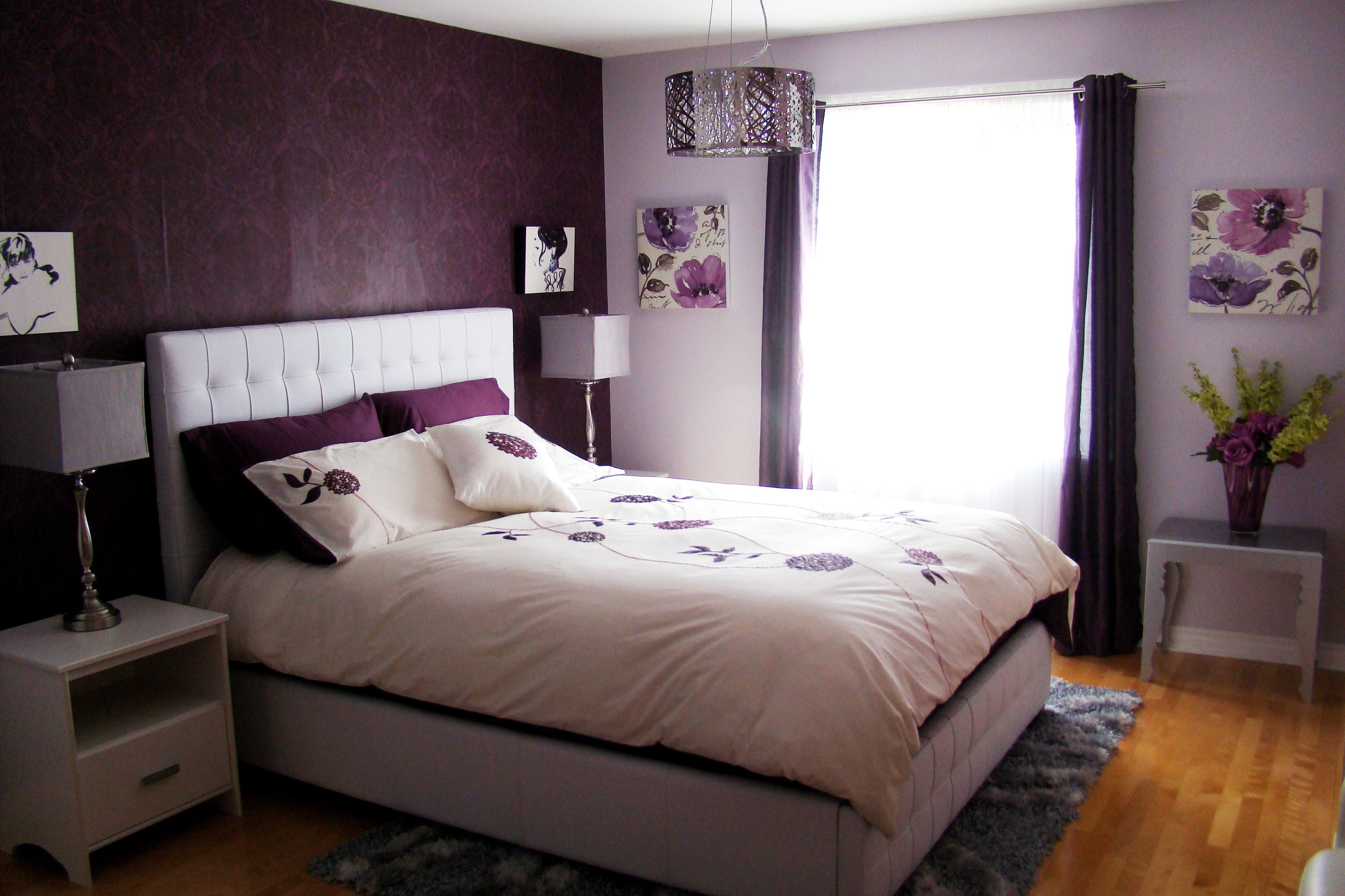 Bed Bedroom Girl Pillows Purple Rug Lamps Curtains