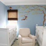 bedroom baby chair mural blue lamp