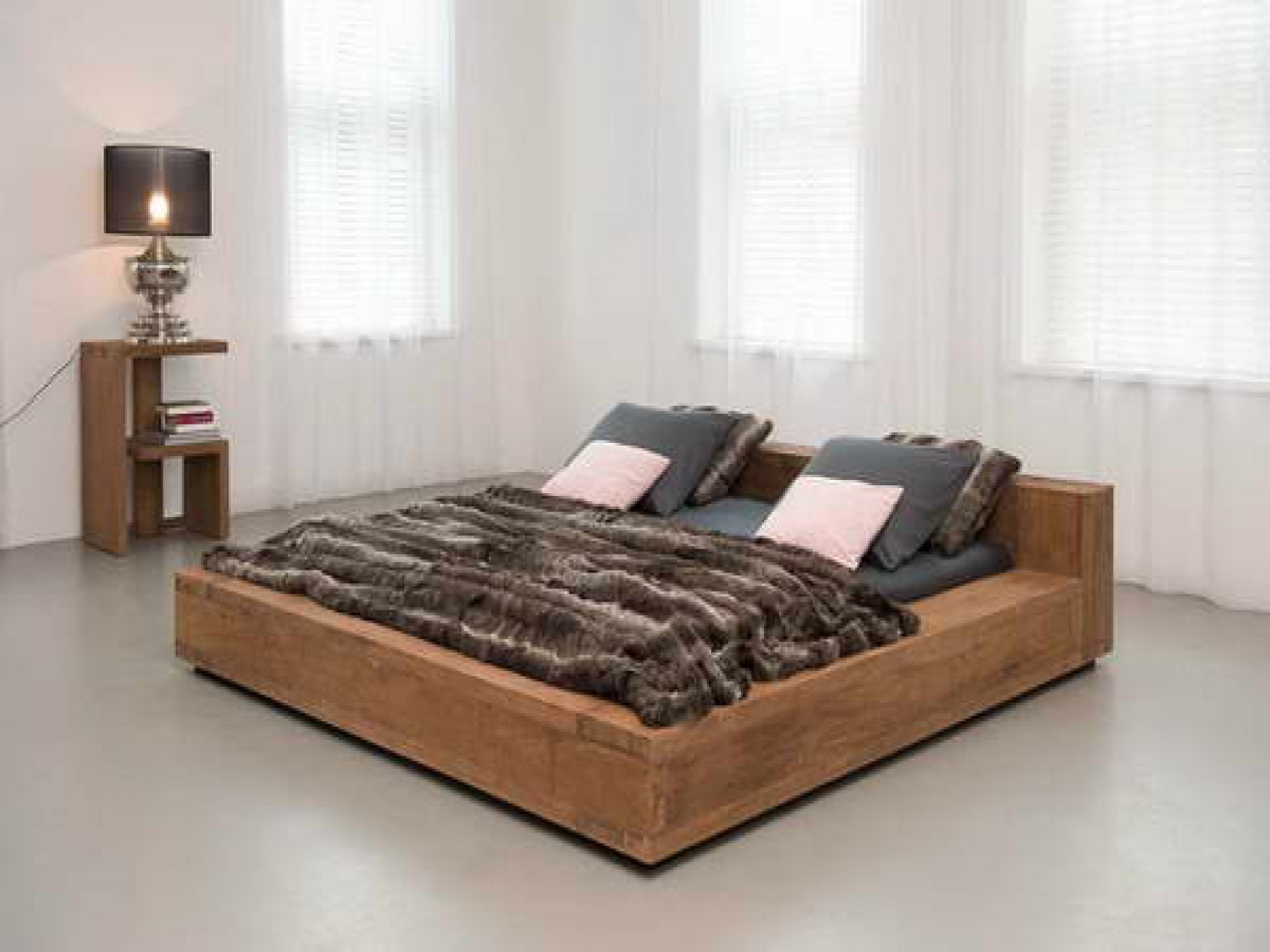 bedroom low profile wood fur blanket bed frame candle light shader curtain