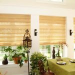 beige Bali cellular roller shades target garden style dining room decorative plants and flower antique standing lamp wooden dining chairs