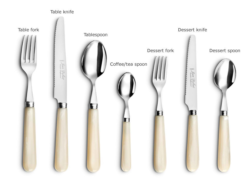 Best Flatware Sets With White Accent Consist Of 7 Pieces Including Table  And Dessert Fork Plus