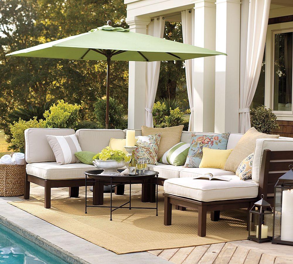 Best Ikea Lwan Furniture Design Of White Sectional Sofa With Green Umbrella  Patio On Creamy Area