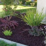 best mulch for landscaping design in black color with low growing flower with concrete border and grassy meadow aside white house