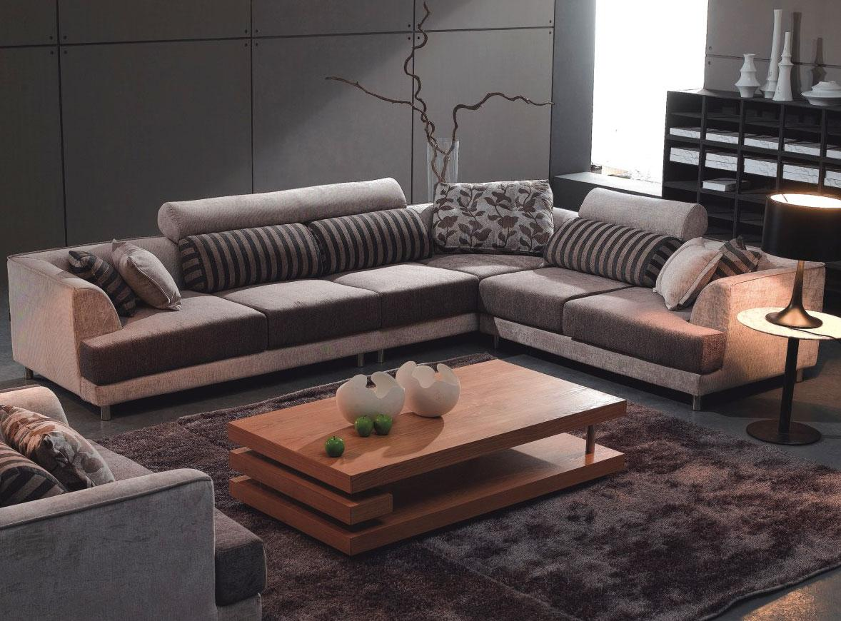 Best Sectional Sofa For The Money In Grey Scheme With Impressive Striped Cushion And Wooden Coffee