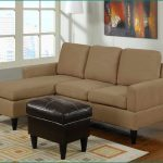 best sectional sofa for the money in light brown color and leather ottoman with patterned rug and white standing lamp