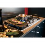 black silver 30 gas cooktop with downdraft sleek kitchen surface modern kitchen furniture vegetable accent