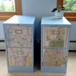 blue metal decorative filing cabinets map pattern decorative filing cabinets soft color rug white flower pot accents