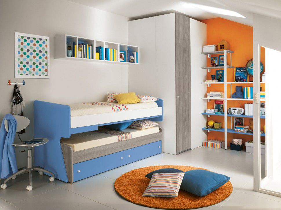 Blue Trundle Beds For Children Small Bedroom Space With Double Bed And Storage Underneath Plus