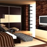 bold natural color combination modern bedroom brick color walls white and natural brown wooden closet white and brown mat unique light brown chairs blackbrown standing lamp