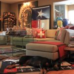 books table sofa pillows dog rug