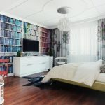 books tv curtains lamp bed pillow