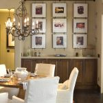 brand new style of picture frame target in the dining room with rustic cabinet and luxurious white dining table with chandelier