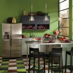 bright green paint color for kitchen with colorful plaid tile flooring in marron and white and green with minimal kitchen bar beneath pendants