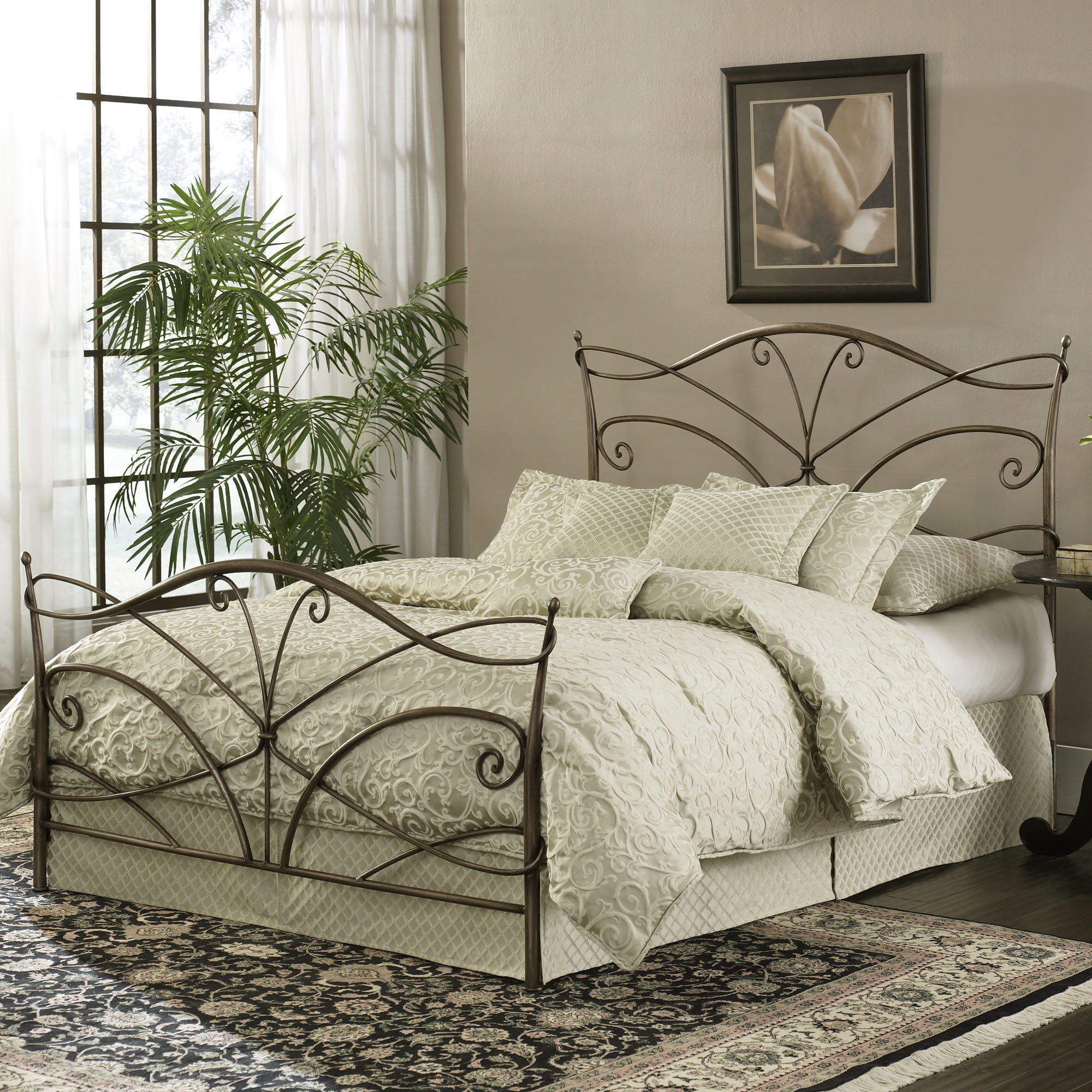 Metal headboard bed frame - Bronze Metal Adjustable Bed Frame Ivory White Cushion And Bedsheet Flower Wall Picture Living Plant Flower