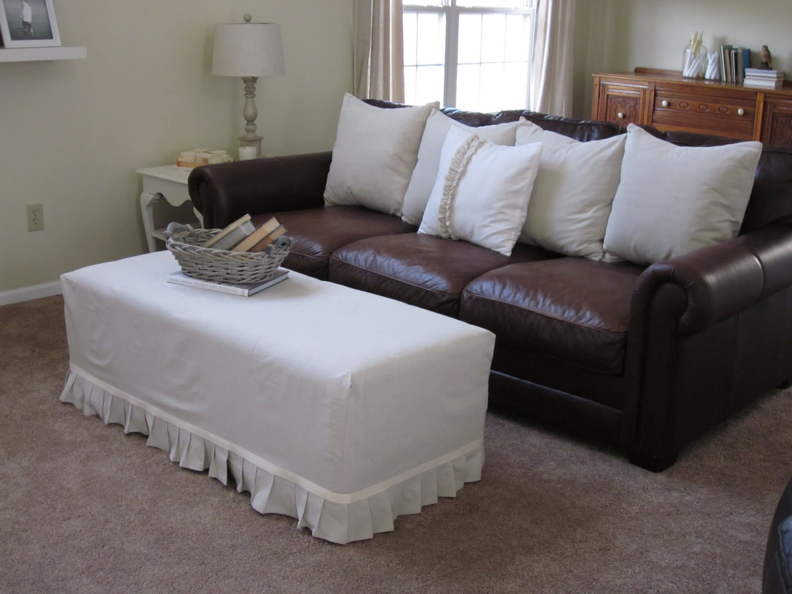 Best ottoman slip covers that you will be interested with for Brown leather sofa cushion covers