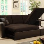 brown love seat sleeper sofas with some cushions for living room ideas plus glass window plus pictures and coffee table plus rug area