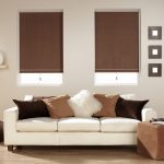 brown roller shade blackout blinds for living room white sofa two tones brown cushions ivory wall wooden floor