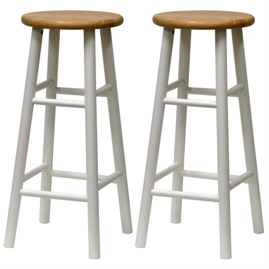 White Wood Bar Stools Providing Enjoyment in Your Kitchen Counter ...