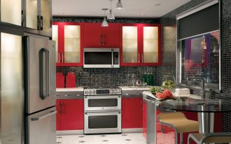 built in toaster oven in red kitchen cabinet beautiful colorful modern kitchen red kitchen furniture block motive black walls decorative flower modern hanging lamps