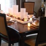 Centerpieces For Dining Room Tables With Candles On Wooden Table Plus Comfortable Seating