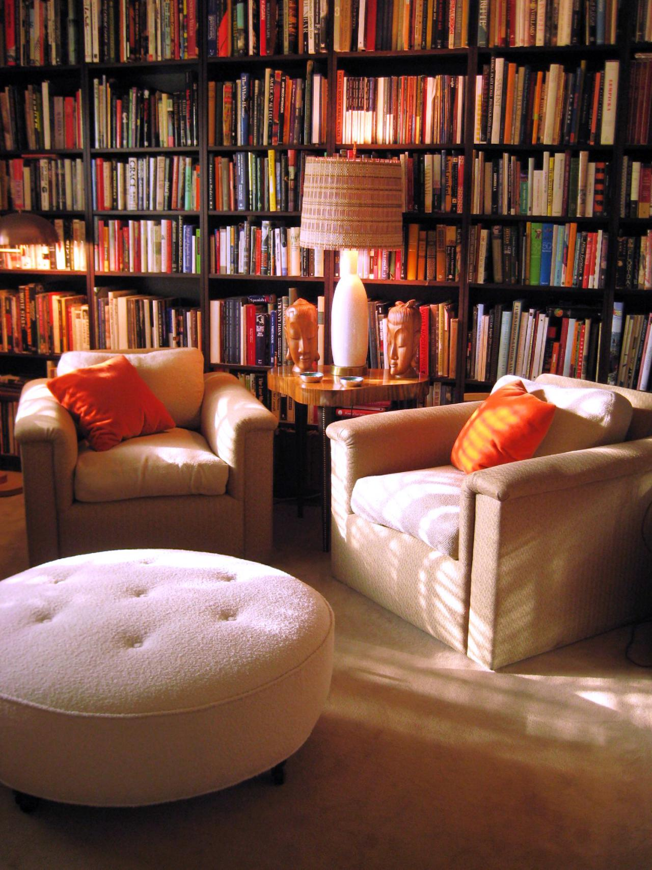 Home library lighting Bedroom Chairs Pillows Rug Lamp Books Bookshelf Library Homesfeed Home Library Design Homesfeed