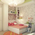 chandelier bed pillows book shlef rug wallpaper