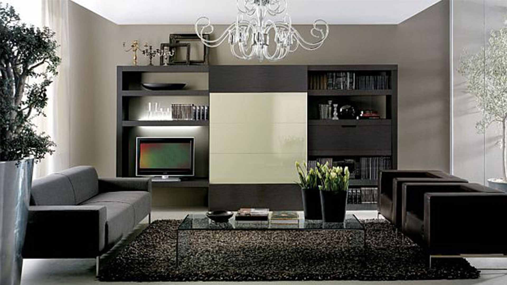 Chandelier Tv Cabinet Black Sofa