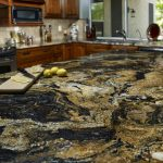 charming volcano granite for elegant classic kitchen with wooden cabinets