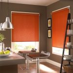 cheerful orange ikea blackout blinds for modern unique dinng room with metal counterstools ceiling silver lamps decorative flower and fruit tile floor