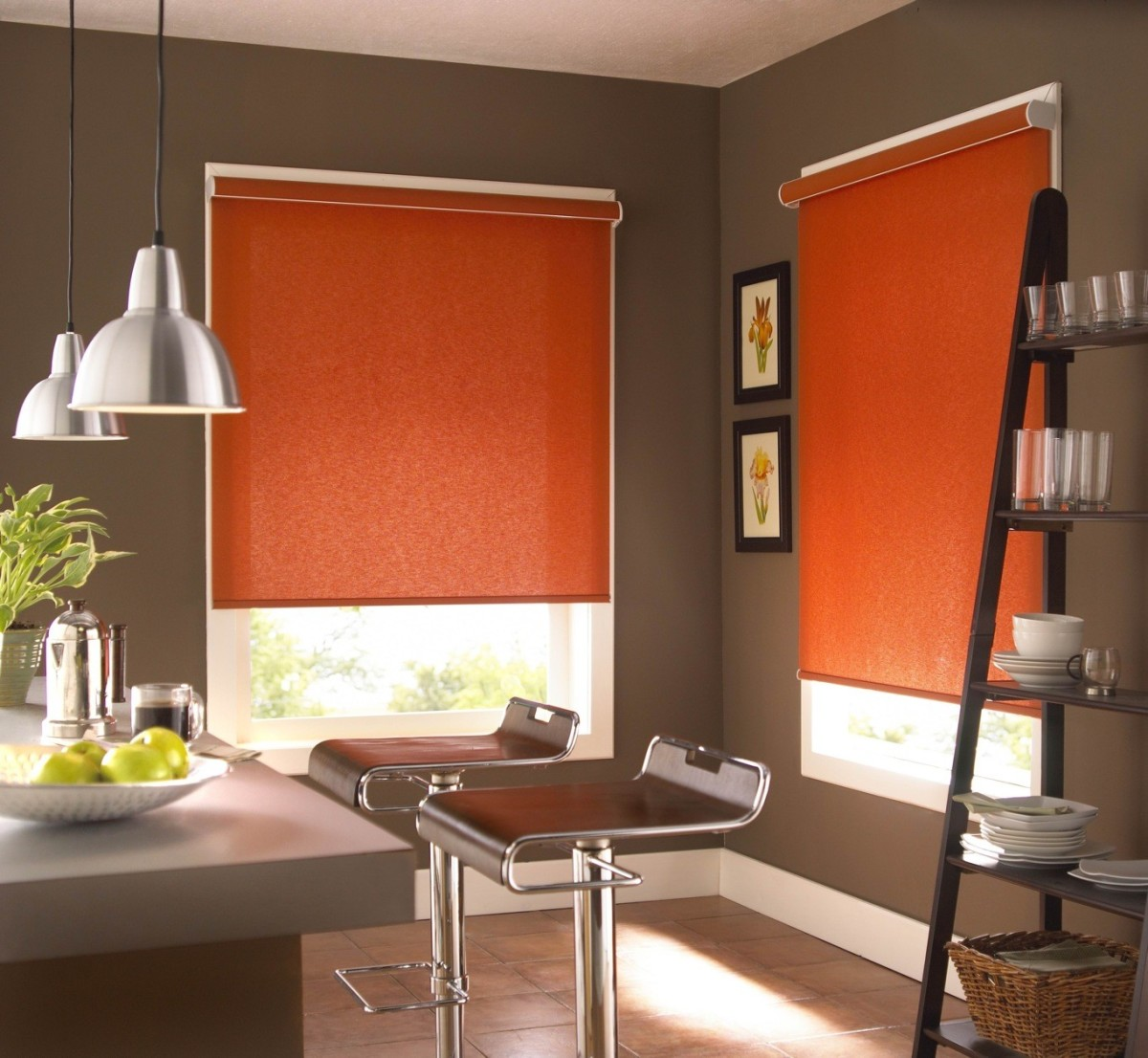 cheerful orange ikea blackout blinds for modern unique dinng room with