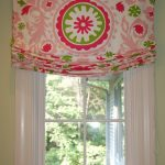 Cheerful Pink Green Outside Mount Roman Shades White Wooden Window Frame Soft Blue Wall