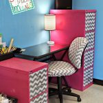 cheerful pink stripes decorative file cabinets for energizing office room with soft blue wall classic simple small table lamp matched office chair