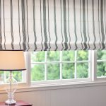 classic black and white stripes roman shades outside mount for classic white window and classic white table lamp
