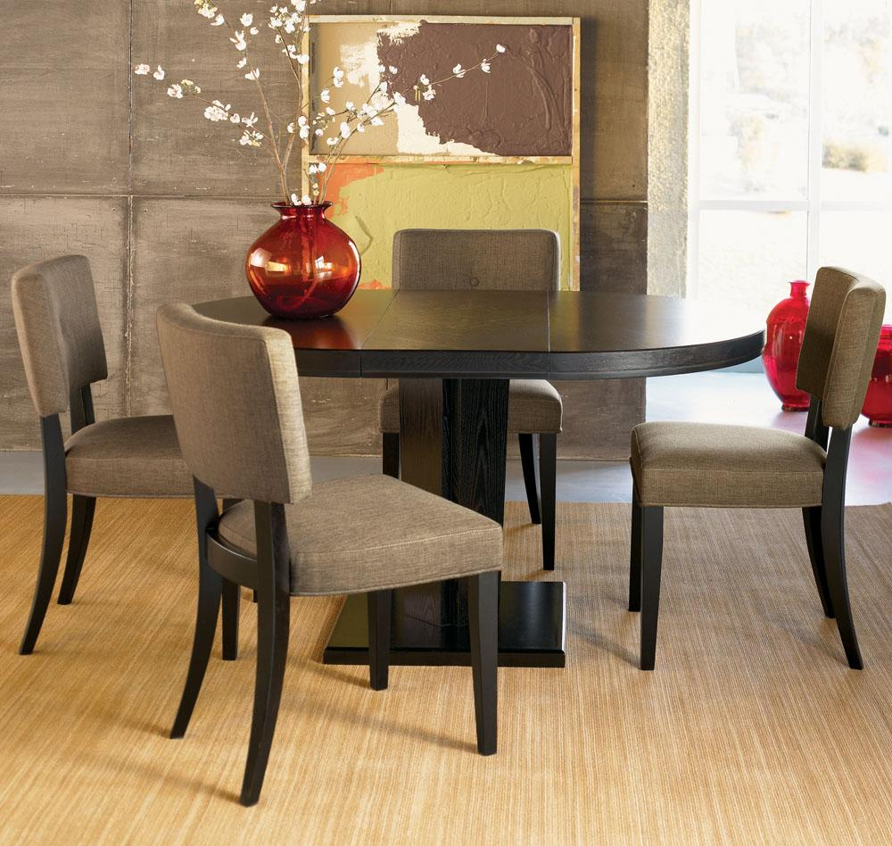Classic Black Wooden Small Oval Dining Table With Foam Padded Frame Chairs Natural Floor