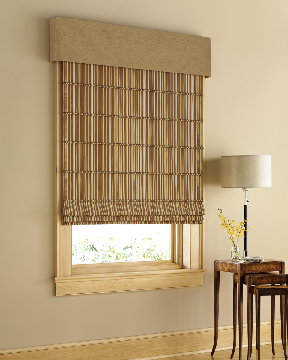 Window blinds kah huat textile co - Classic Brown Outside Mount Roman Shades Beige Window Frame