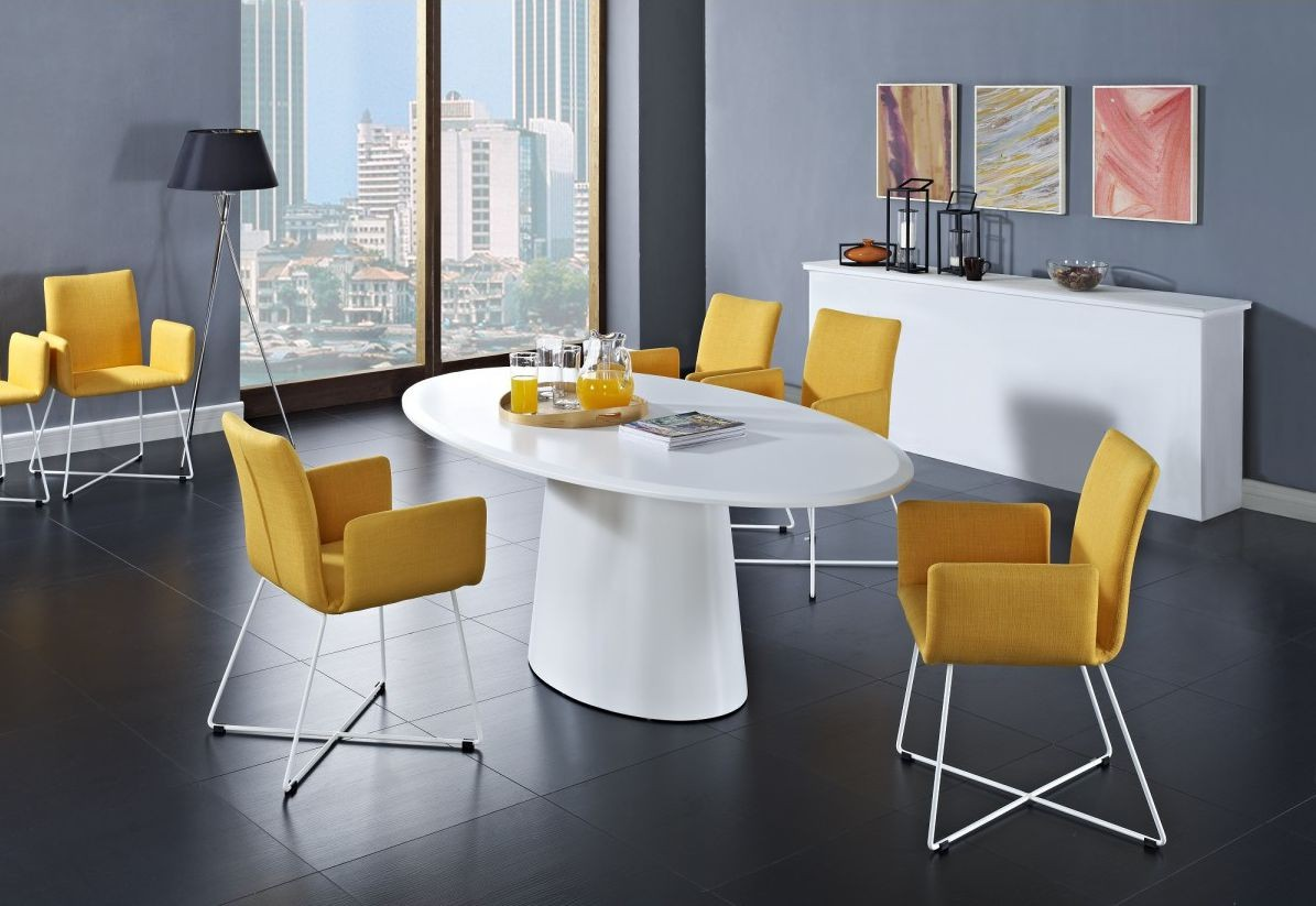 Classic Modern Small Oval Dining Table With Orange Unique Design Soft  Orange Gray Tone Dining Room