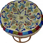 classic moroccan papasan chair ikea design with floral pattern on rattan round base