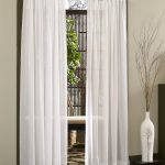 classic white sheer treatment for casement window modern living room tree barnches decoration wth chic white vas and stripe rug