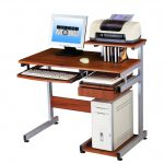 classic wooden Techni Mobili desk with printer storage with sliding keyboard room and CD rack