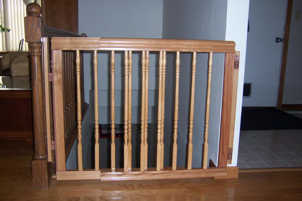Superb Classic Wooden Baby Gate For Top Stairs Idea With Carve Pattern On Wooden  Floor Aside White
