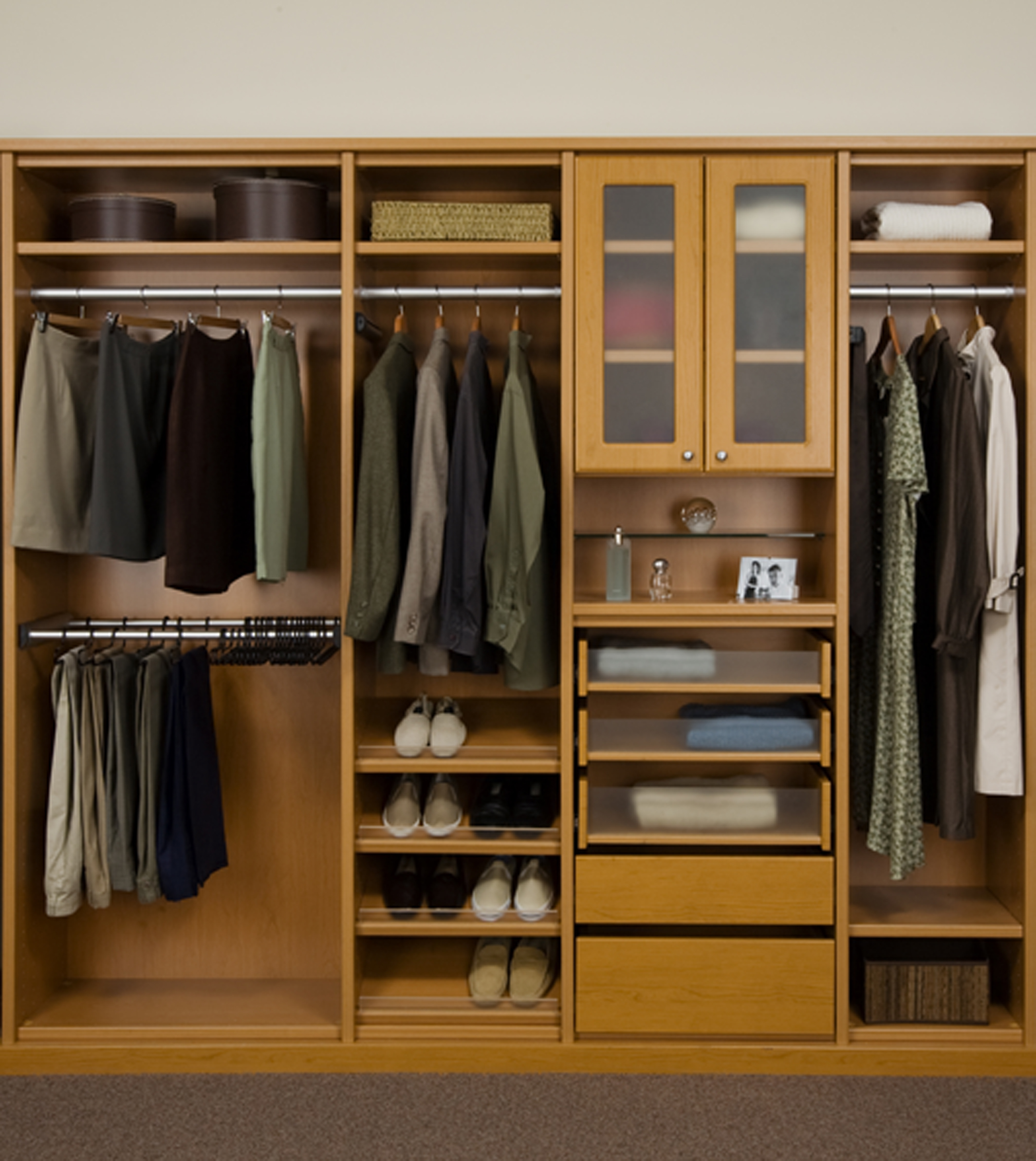 Classic Wooden Closet Organizer For Small Closet Idea In Beige Color With  Storage Glass And Drawers