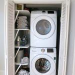 closet dryer washer clothes basket clother desk wood door