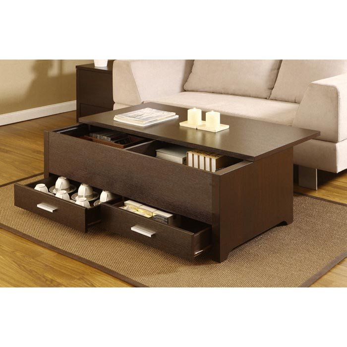 Coffee Table With Storage System And Drawers Underneath Light Grey Sofa  Darker Stained Minimalist Side Table