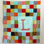 Colorful Plaid Patterned Baby Quilt To Make Idea In Green Brown Red White Black Blue And Chevron Pattern Cloth Material With L Letter