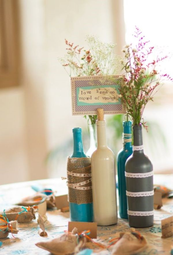 Wine Bottle Decorating Ideas Best Prep for Fall and  : colorful wine bottle decorating ideas for fall design in gray white and blue with zig zag pattern and flower for table centerpiece from homesfeed.com size 600 x 884 jpeg 61kB
