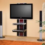 compact and space saving flat screen tv wall cabinet in black and red accent with double shelves and standing sound speaker and brown rug